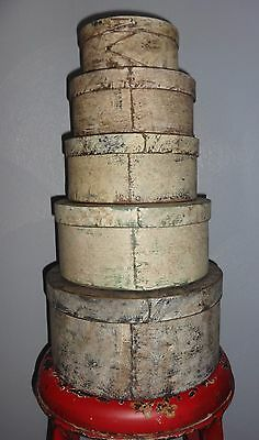 Stack of 5 Old Painted Cream Pantry Box-Graduated Sizes-Primitive-Firkin-Shaker