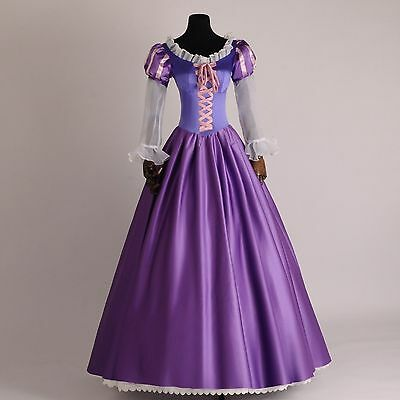 Purple Adult Rapunzel Outfit Dress Cosplay Costume Princess Fairytale Tangled
