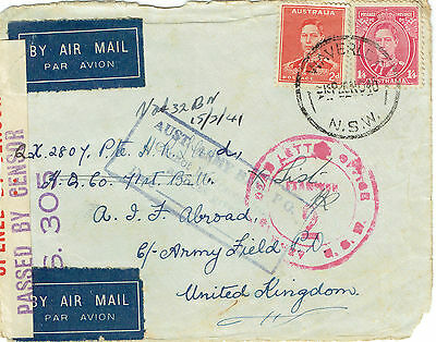 Australia 1940 front censored letter to UK Aust base PO cannot trace cachet DLO