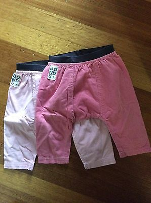2 Pair Of Baby Girls Bonds Pants Size 0 - Pink