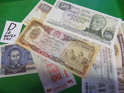 Lot of 10 uncirculated World Banknotes, all diff...Please compare to others.(D).