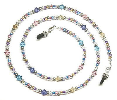 Swarovski Crystal Metallic Gold/Rose/Aqua/Tanzanite Bead Mix Eyeglass Chain