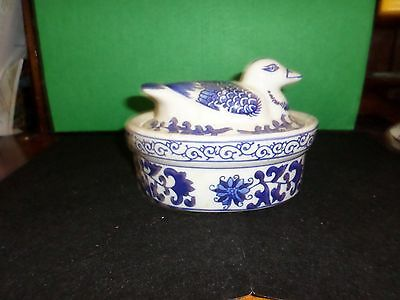 Blue and White delft china bowl and lid terrine