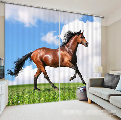 3D Horse Grass 4Blockout Photo Curtain Printing Curtains Drapes Fabric Window CA