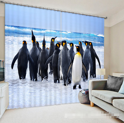 3D Penguin 23 Blockout Photo Curtain Printing Curtains Drapes Fabric Window CA