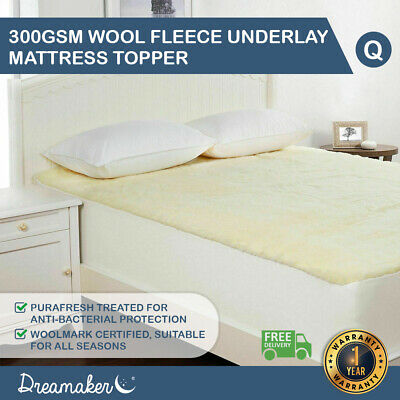 QUEEN Dreamaker Fitted Australian Wool Underlay Underblanket Mattress Topper NEW