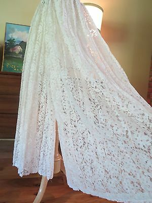 Vtg  LACE PANTS~Wide Leg~Hi Waist~PALAZZO~Sheer. Ivory. Small