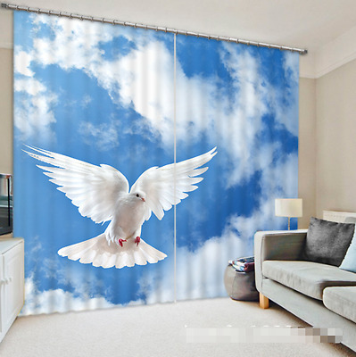 3D Pigeon Sky 55Blockout Photo Curtain Printing Curtains Drapes Fabric Window CA