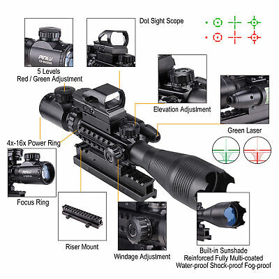 4-16x50 Rangefinder Illuminated Rifle Scope W/Green Laser & Red Green Dot Sight