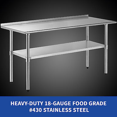 30''X70'' Work Prep Table Stainless Steel Kitchen Restaurant W/Backsplash