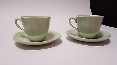 Lot of 2 J&G Meakin Glamour Jade tea cups and 2 Johnsons of Australia saucers