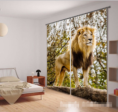 3D Lion Tree 35 Blockout Photo Curtain Printing Curtains Drapes Fabric Window CA