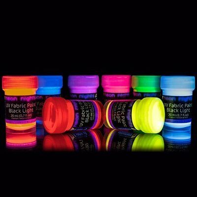 Neon Glow In The Dark Fluorescent Fabric Paint Party UV Premium Quality Painting