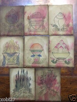 Antique  Mongolian Buddhist Hand Drawn Pictures Of 8 Auspicious Substances