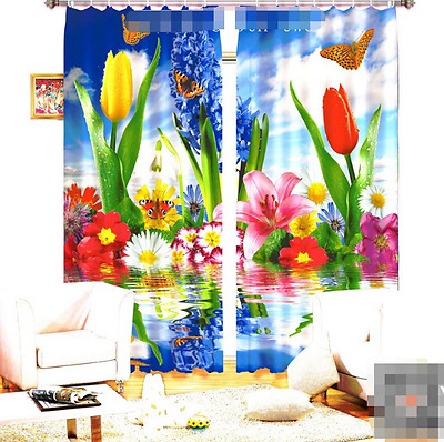 3D Tulip Lily 75Blockout Photo Curtain Printing Curtains Drapes Fabric Window CA