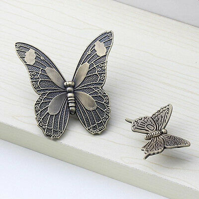 Vintage Retro Butterfly Cupboard Furniture Cabinet Door Knob Drawer Pull Handles