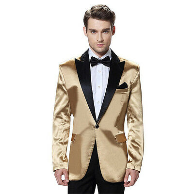 Gold Jacket Black Pants Prom Groom Tuxedo Formal Men's Wedding Suits Custom Made