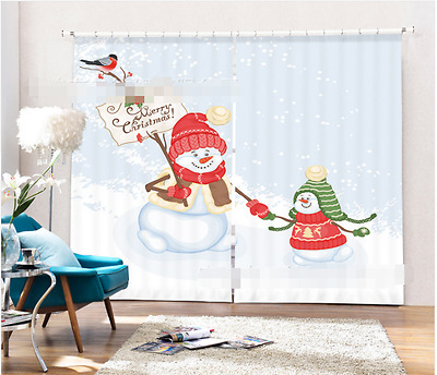 3D Snowman 35 Blockout Photo Curtain Printing Curtains Drapes Fabric Window CA