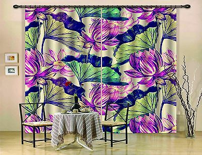 3D Lotus Leaf 36Blockout Photo Curtain Printing Curtains Drapes Fabric Window CA