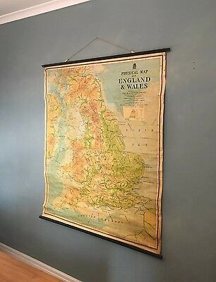 ORIGINAL Old VINTAGE PULL DOWN GEOGRAPHICAL Physical SCHOOL MAP England & Wales.