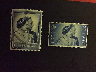 King George  VI 1948 SILVER WEDDING SET UM SG 493 - 494  *