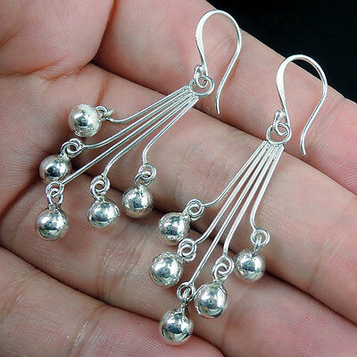 Beautiful FIVE SILVER BALLS 925 STERLING SILVER Earrings Jewellery