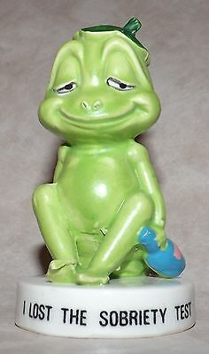 """""""I Lost The Sobriety Test"""" Frog Figurine, Drunk Frog,  Made in Japan"""