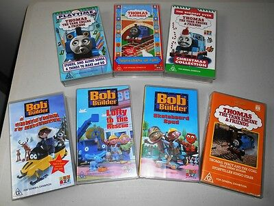 Thomas The Tank Engine & Bob The Builder Vhs Tape Lot Inc Christmas Collection