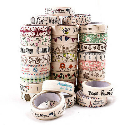 Vintage Cute Fabric Tape Washi Masking Tape Decorative DIY Tape Stickers A1863