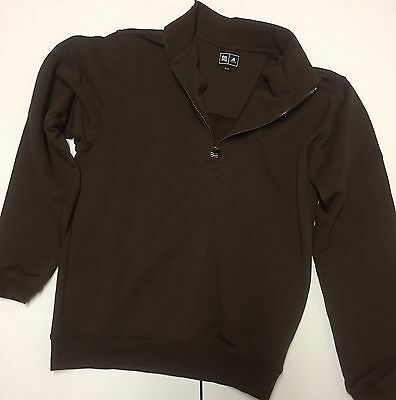 Adidas Mens Zippered Polo Neck Sweater, Chocolate Brown, Size SMALL adidas