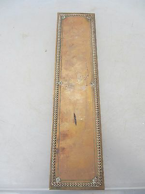 Victorian Brass Finger Plate Push Door Handle Vintage Old Beading Antique