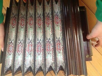 french antique wooden accordion concertina piano musical bellow box wooden