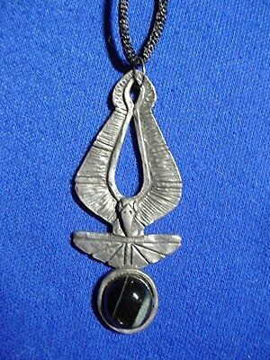 Pewter Egyptian Crow with black tiger eye necklace by Cindy A. Conter Egypt