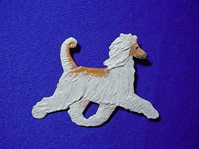 OOAK painted Afghan Hound Pin TROTTING pewter 32Ap Dog Jewelry y Cindy A. Conter