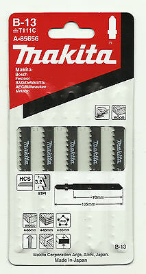 Pack of 5 Makita Jigsaw Blades for Wood - B13