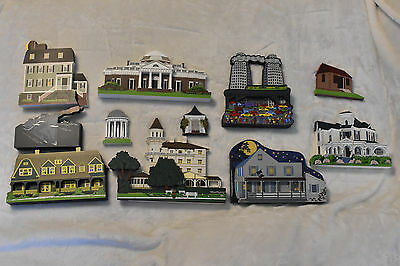 Lot Of 11 Shelia's Collectible Wood Houses! Artists Real Autograph on 5 Pieces!