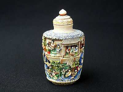 EARLY 1800's QING DYNASTY LARGE POLYCHROME TABLE SIZE SNUFF BOTTLE