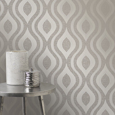 Quartz Geo Geometric Pewter Glitter Wallpaper by Fine Decor - FD41978