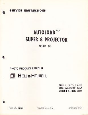 BELL & HOWELL Service Manual & Parts List: 456A Super 8