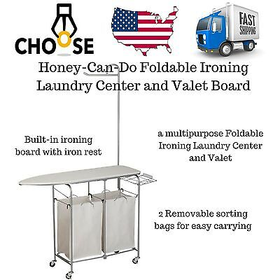 Foldable Ironing Board Laundry Center and Valet Rolling Cart Storage Baskets
