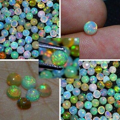 Wholesale Price Natural Ethiopian Welo Opal Gemstone Multi Fire Cabs 4 mm Round