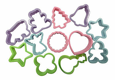 PACK OF 12 x PLASTIC COOKIE CUTTERS BISCUIT CAKE MOLD DOUGH CUTTER