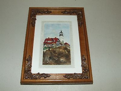"""Vintage Signed Framed """"Lighthouse"""" Mini Watercolor Painting by Mary Churchill"""