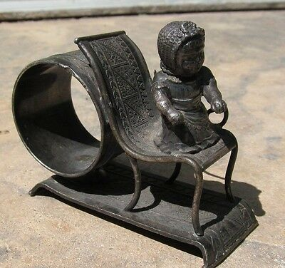 1800's ANTIQUE  FIGURAL  SILVERPLATE NAPKIN RING HOLDER GREENAWAY BABY ON CHAIR