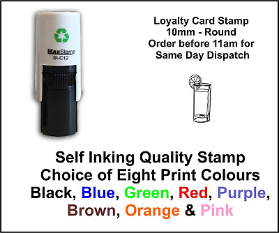 Loyalty Card Stamp Glass & Lemon Professional Quality Self Inking 10mm FREE POST