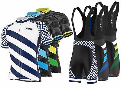 "FDX Mens ""Limited Edition"" Cycling Bib Gel Padded shorts + Cycling Jersey Combo"