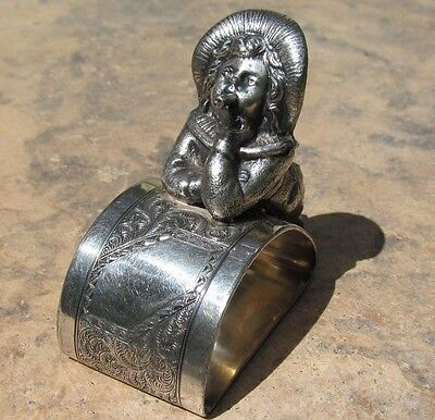 1800's ANTIQUE  FIGURAL  SILVERPLATE NAPKIN RING HOLDER GREENAWAY BOY WITH CIGAR