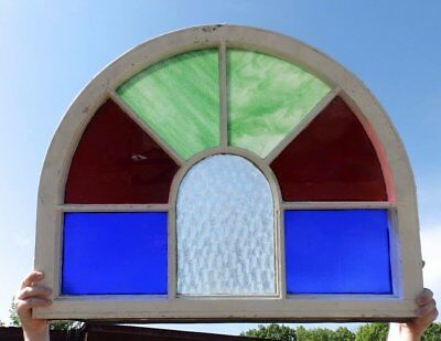 Antique Arch Top Stained Glass Window Sash Garden Shabby Vtg Chic 25x33 585-17R
