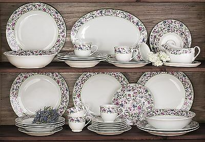 Waterside Fine China 35 Piece Bloomsbury Floral Full Porcelain Dinner Set