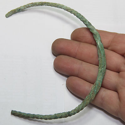 ancient Viking Twisted bronze part  NECK TORC  40 gr ! RARE TAPE